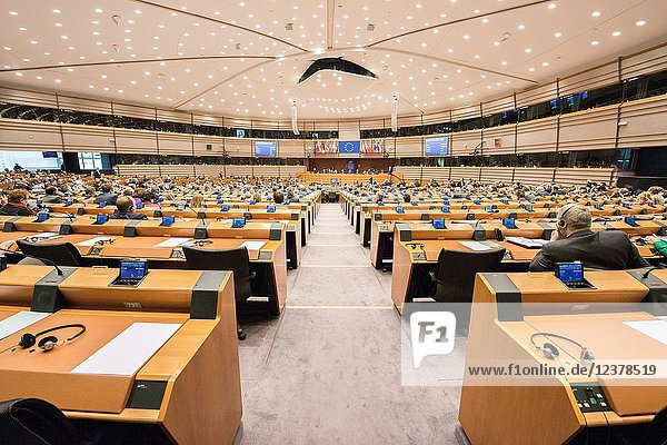 European Parliamant  Brussels  Belgium. Plenary conference hall of the European parliamant during session.