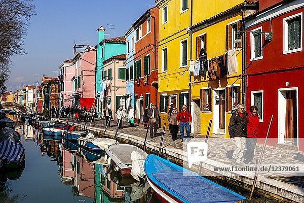 Colourful Houses On The Island Of Burano  Venice  Italy.