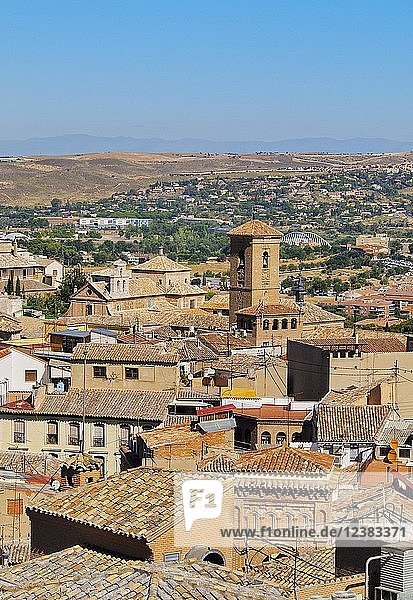 View to the Old Town with surroundings  Toledo  Castile La Mancha  Spain  Europe