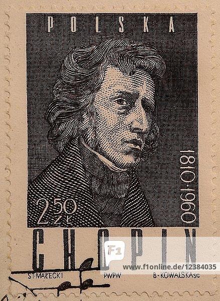 Frederic Chopin  polnischer Komponist und virtuoser Pianist  Porträt auf polnischer Briefmarke