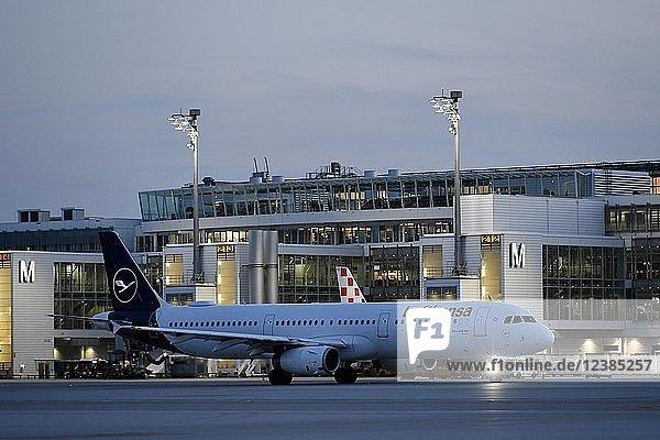 Lufthansa  Airbus  A321-100  New Livery  in der Dämmerung rollend vor Terminal 2  Flughafen München  Oberbayern  Bayern  Deutschland  Europa