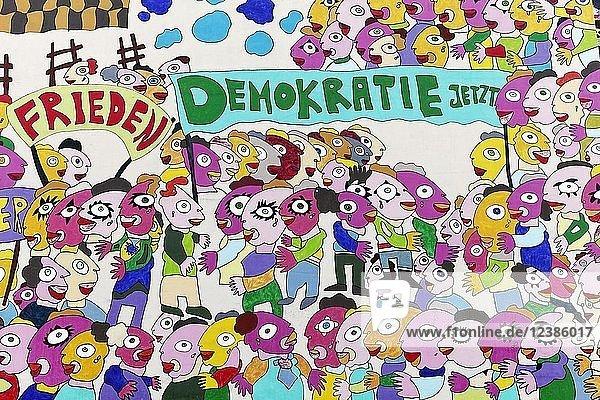 Demonstration für Friede und Demokratie  Wandgemälde zur Deutschen Einheit von Fischer-Art  Brühlarkaden  Leipzig  Sachsen  Deutschland  Europa
