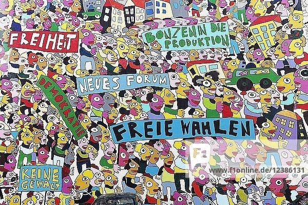 Demonstration für Freiheit  Wandgemälde zur Deutschen Einheit von Fischer-Art  Brühlarkaden  Leipzig  Sachsen  Deutschland  Europa