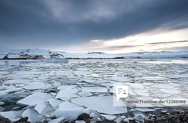 Ice floes  Jökulsárlón glacier lagoon  southern edge of Vatnajökull  Eastern Region  Iceland  Europe