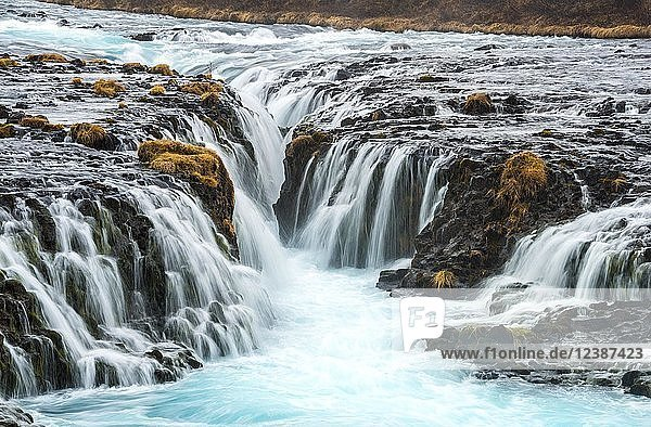 Waterfall Bruarfoss in winter  in Selfoss  Southern Region  Iceland  Europe