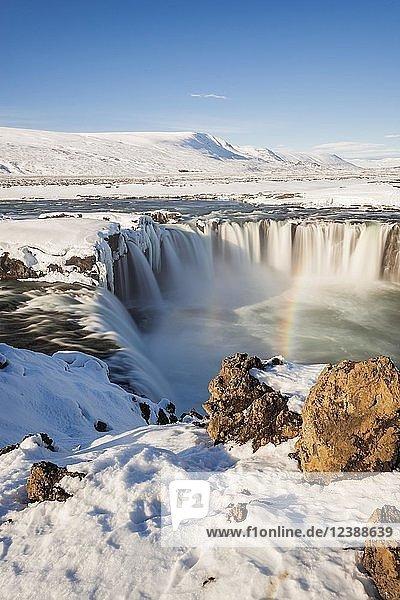 Waterfall Góðafoss  Godafoss in winter with snow and ice  Skjálfandafljót river  Norðurland vestra  Northern Iceland  Iceland  Europe