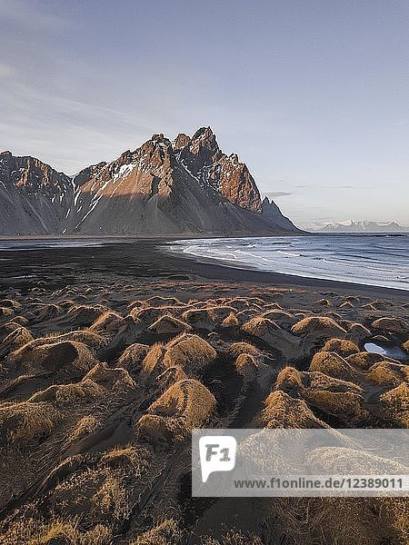 Black sandy beach  overgrown stones  mountains Klifatindur  Eystrahorn and Kambhorn  headland Stokksnes  massif Klifatindur  Austurland  East Iceland  Iceland  Europe