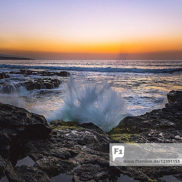 Wellen  Brandung an Felsküste bei Sonnenuntergang  Punta del Hidalgo  Atlantik  Teneriffa  Kanarische Inseln  Spanien  Europa