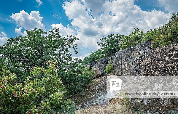 Granite Arbuzinka Rocks in the canyon near the Aktovo village  on the Mertvovod river in Ukraine. One of natural wonders of Europe.