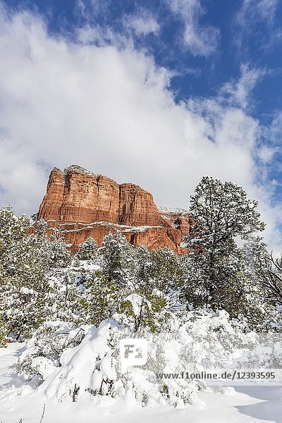 Courthouse Butte after a snow storm near Sedona  Arizona.