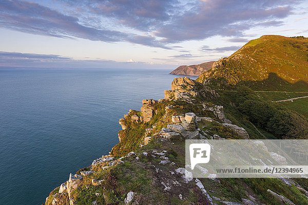 Valley of the Rocks overlooking the Bristol Channel in late summer. Exmoor National Park  North Devon  England.