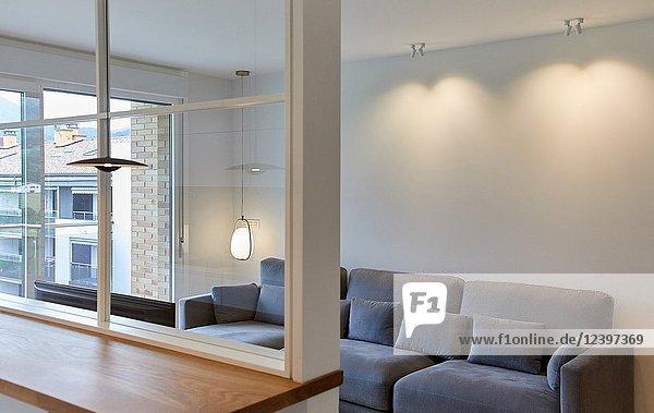 Living room and kitchen  Illumination  Interior decoration of housing  Oñati  Gipuzkoa  Basque Country  Spain  Europe