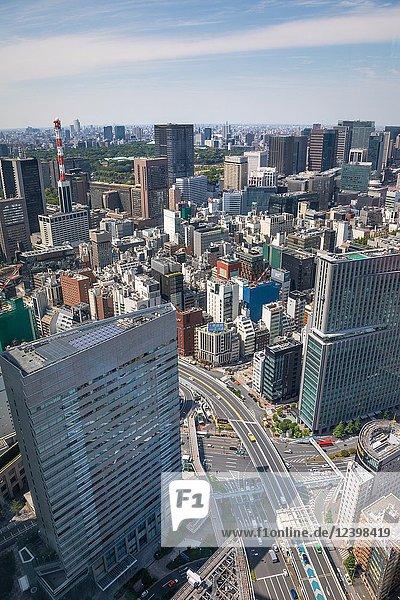 Japan  Tokyo City  Ginza district and Marunouchi skyline.