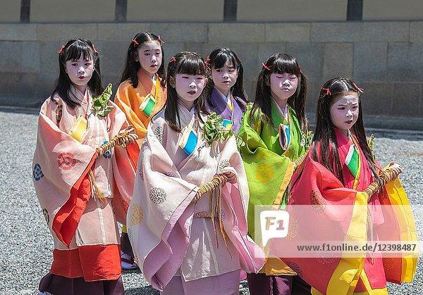 Japan  Kyoto City  Aoi Matsuri  Festival  Children of the Court parading.