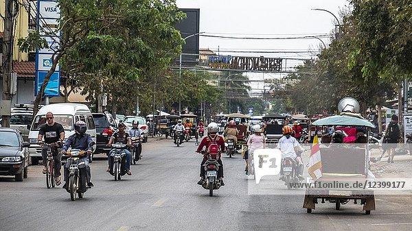 Siem Reap road scene  Cambodia