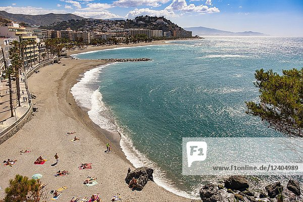 Puerta del Mar beach  Almuñecar. Costa Tropical  Mediterranean Sea. Granada Province. Andalusia  Southern Spain Europe.