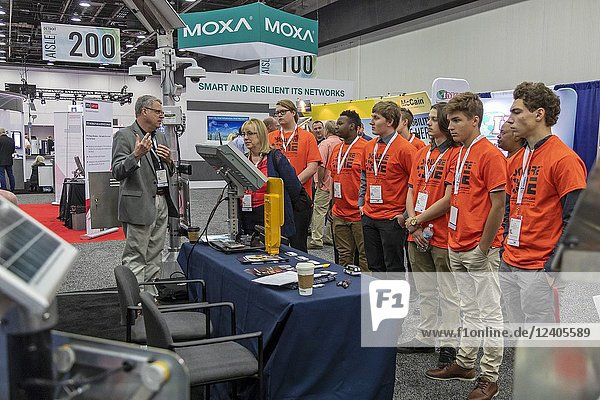 Detroit  Michigan - High school students learn about connected cars and self-driving vehicles at the annual meeting of the Intelligent Transportation Society of America.