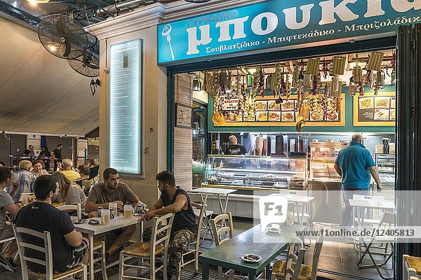 Restaurant in the popular Ladadika district of Thessaloniki Macedonia  Northern Greece.