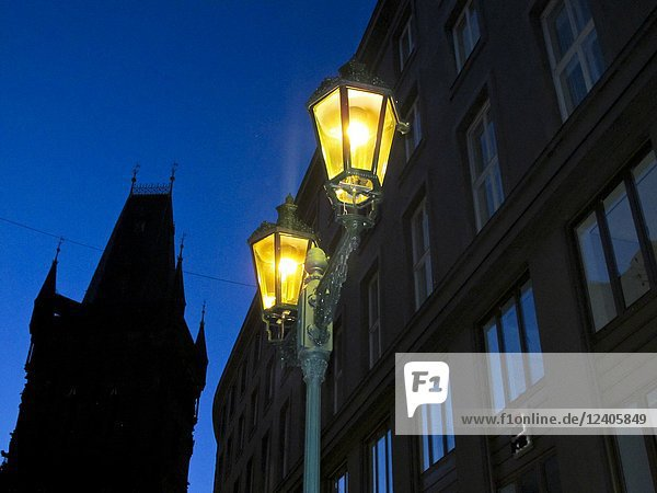 Traditional street lamp. Prague. Czech republic.