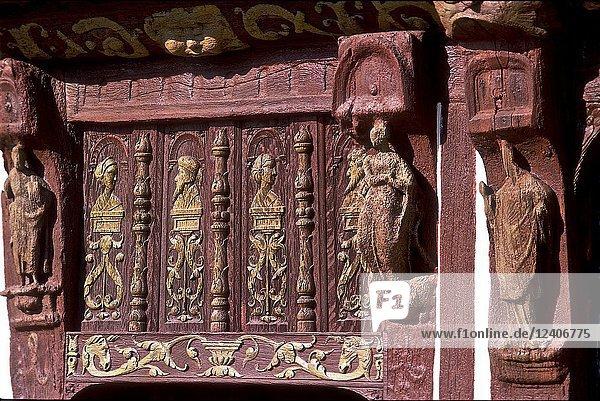 Detail of the house henri IV  saint valéry sur caux. maritime Seine  Normandy. la France.
