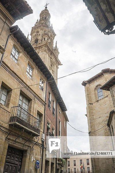 Street of Santo Domigo de la Calzada  La Rioja  Spain. Cathedral tower.
