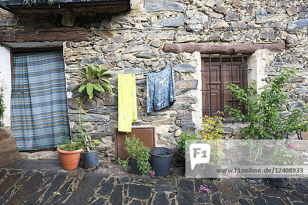 Old house at Patones de Arriba walled village Madrid province Spain.