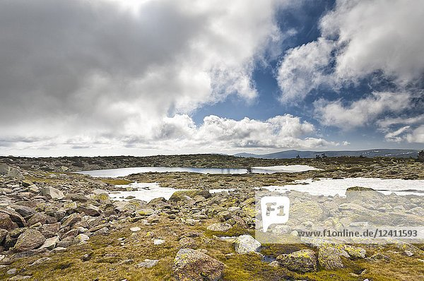 Five Lagoons at National Park of Penialara Lagoons. Sierra de Guadarrama. Madrid. Spain.