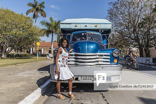 Classic American Chevrolet Viking 20 truck used as a taxi in Nueva Gerona on Isla de la Juventud  Cuba.