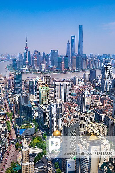 China  Shanghai City  Nanjin Lu Pudong District  Lujiazui Area  Jin Mao Bldg.  World Financial Center and Shanghai Tower.