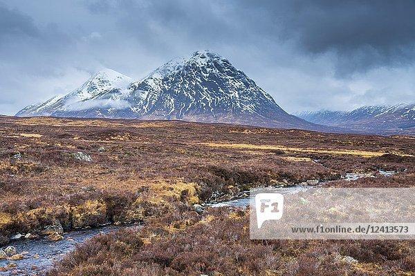 The Buachaille Etive Mor at Glen Etive  Argyll  Highlands  Scotland  United Kingdom  Europe.