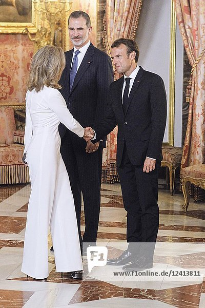 King Felipe VI of Spain  Emmanuel Macron  Alicia Koplowitz attends a dinner with President of the Republic of France at Royal Palace on July 26  2018 in Madrid  Spain