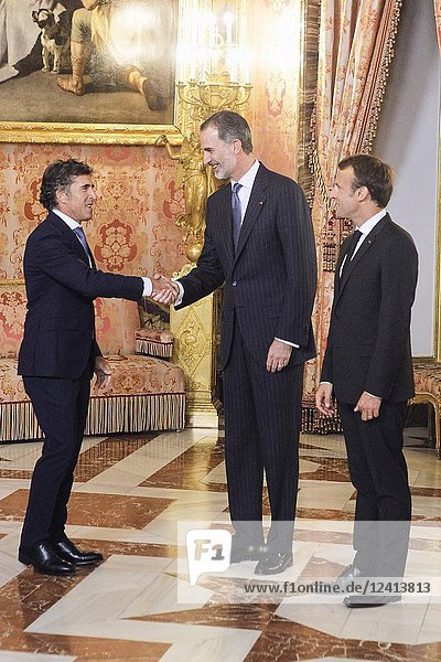 King Felipe VI of Spain  Emmanuel Macron  Pedro Delgado attends a dinner with President of the Republic of France at Royal Palace on July 26  2018 in Madrid  Spain