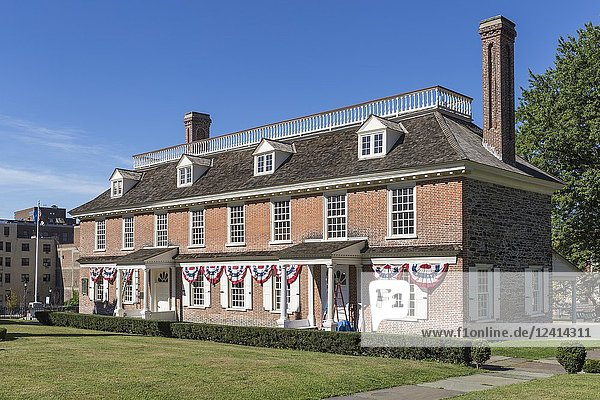 The historic colonial era Philipse Manor Hall in downtown Yonkers  New York.