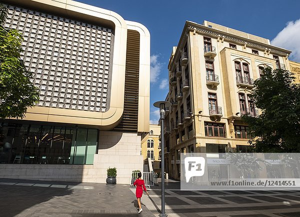 Contrast of new and old architecture at Beirut Souks retail development in Downtown Beirut  Lebanon.
