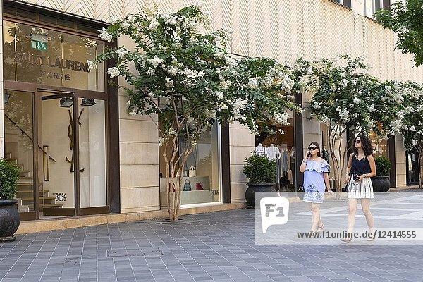 Luxury fashion boutiques on fashionable street in Downtown Beirut  Lebanon.