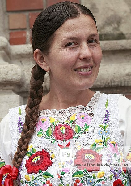 Hungary  Budapest  woman in traditional dress  portrait .