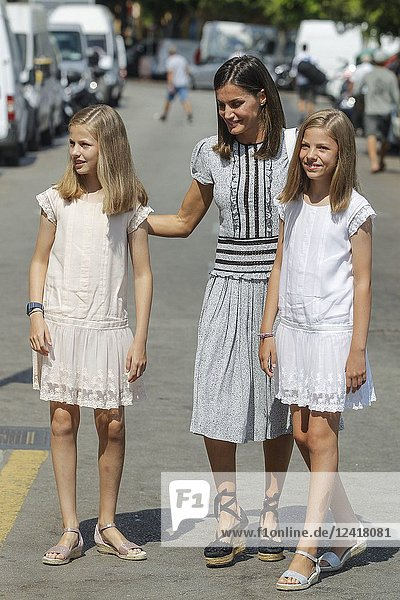 Queen Letizia  Princess Leonor and Princess Sofia pick up King Felipe at the end of the last day of the King Cup regatta at the Royal nautical club in Palma de Mallorca  Spain on the 4th of August of 2018.