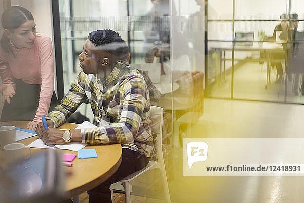 Creative business people talking  brainstorming in conference room meeting