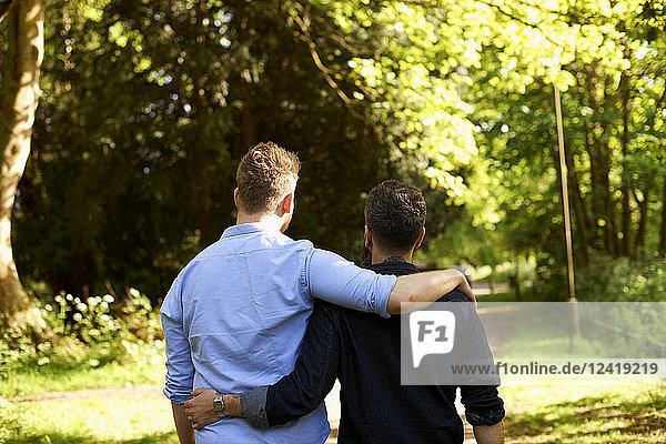 Affectionate male gay couple hugging  walking in sunny park