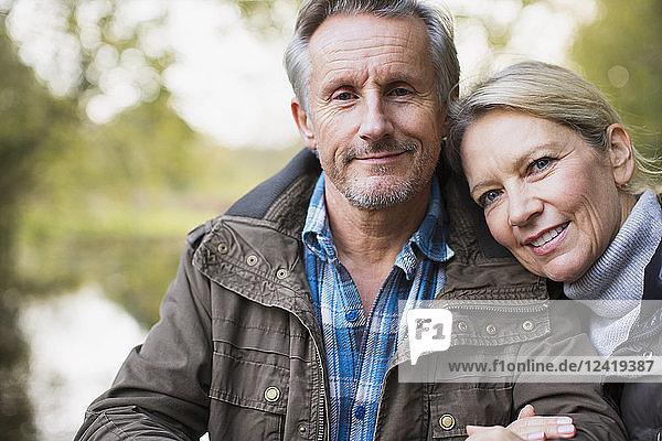 Portrait happy,  affectionate mature couple