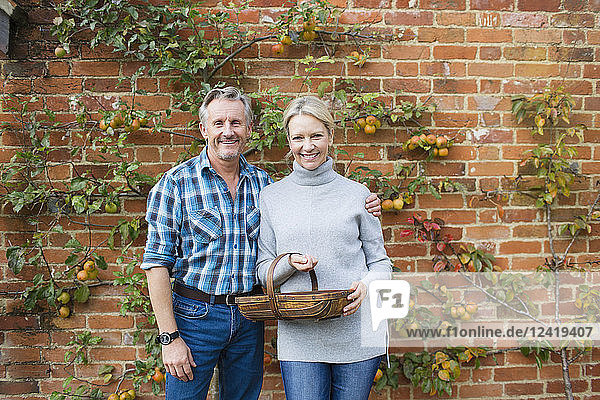 Portrait smiling mature couple harvesting apples in garden