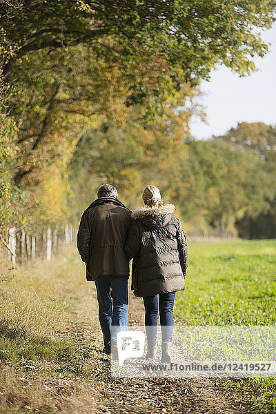 Affectionate mature couple walking in sunny,  rural autumn field