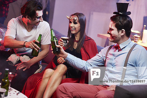 Friends having fun great Halloween party