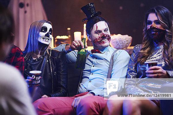 Friends having fun great Halloween party Friends having fun great Halloween party