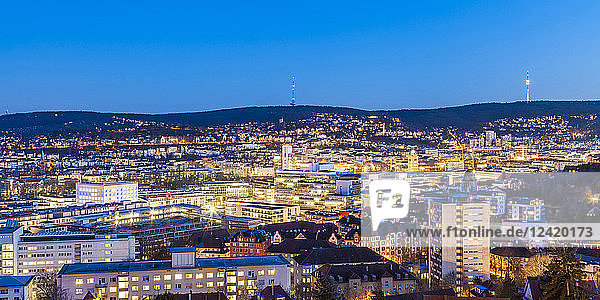 Germany  Stuttgart  panoramic cityscape with TV tower in the evening  blue hour