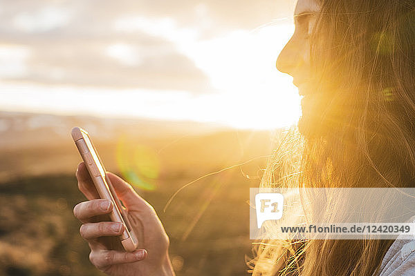Iceland  woman using smartphone at sunset