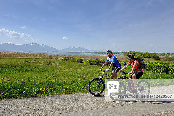 Germany  Upper Bavaria  Seebruck  Chiemgau  Chiemsee  cyclists