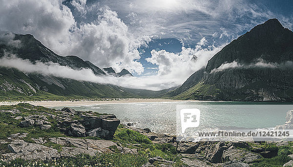 Norway  Lofoten  Moskenesoy  Horseid Beach with mountains