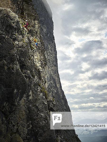 Austria  Tyrol  two rock climbers in Martinswand