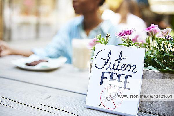 'Gluten free' sign at pavement cafe 'Gluten free' sign at pavement cafe